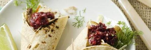 Fish tacos with cherry salsa